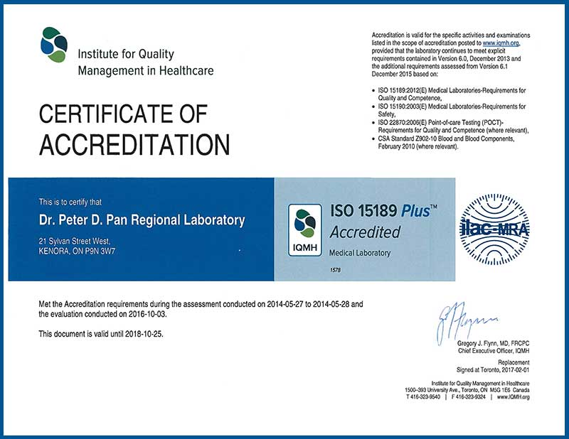 LWDH Laboratory ISO Certificate